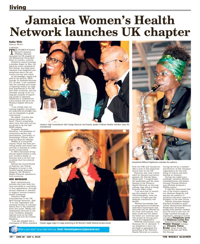 The Gleaner June 28 2018 pg 10 Millicent Stephenson picture Jamaica Women's Health Network UK Chapter