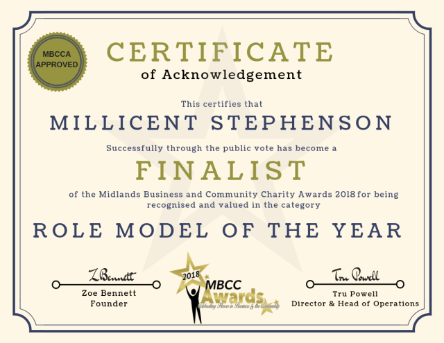 millicent stephenson MBBC finalist certificate
