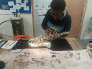 Millicent Stephenson Sax repair at Cambridge Woodwind Makers
