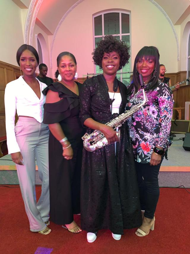 Not Just Jazz 5 VIPs Shari Juney and Janet with Millicent Stephenson Saxophonist at Millicent's 'Not Just Jazz 5', Fri 26th July 2019
