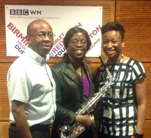Millicent with Joe Aldred and Nikki Tapper, BBC Radio WM Presenters of 'Chatback'