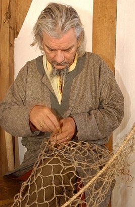 Mending fishing nets