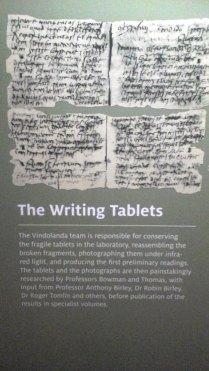Vindolanda Writing Tablets, shown on an informaton board in the Vindolanda museum.