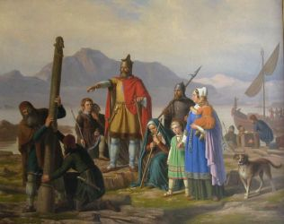 Ingolf Arnarson, the first permanent settler in Iceland. Author: Johan Peter Raadsig (1806-1880). Uploaded by User:Haaukurth. Public Domain.