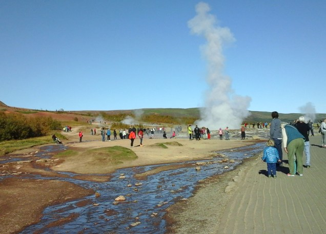 Strokkur geyser at Geysir. Strokkur is a very determined geyser and erupts every 5-10 minutes!
