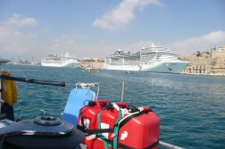 Leaving Valletta with its many luxury Cruise ships
