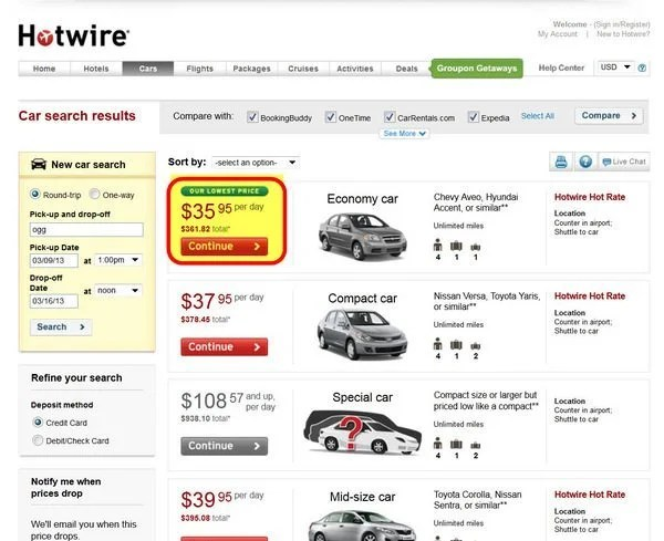 Car Rentals Through Hotwire