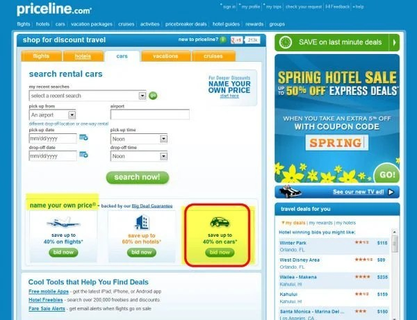 "Cheap Car Rentals: Priceline's ""Name Your Own Price"""
