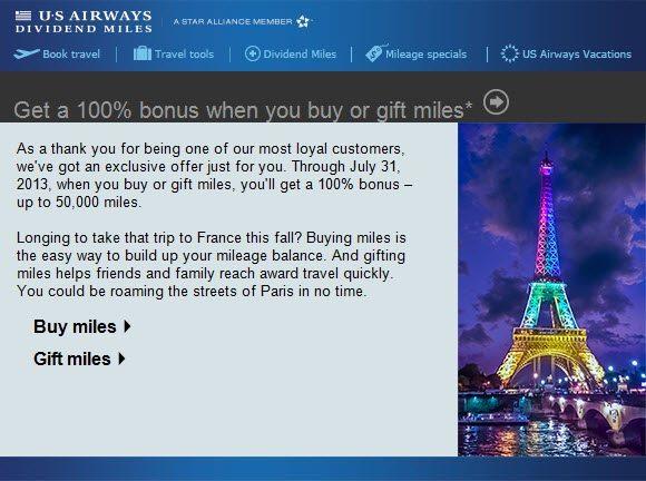 Buy US Airways Miles Bonus July 2013