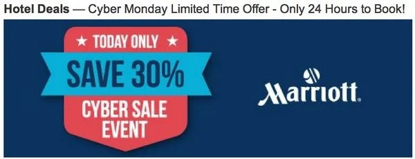 30% Off Marriott Hotels on Cyber Monday!