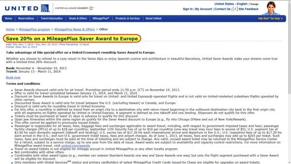 20% Off United Round-Trip Awards to Europe!