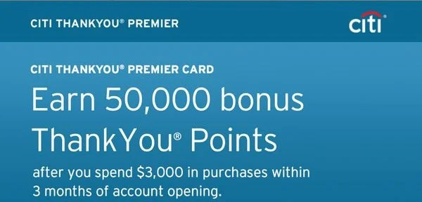 50,000 Citi ThankYou Points (~$625, But Really $500 in Airfare)