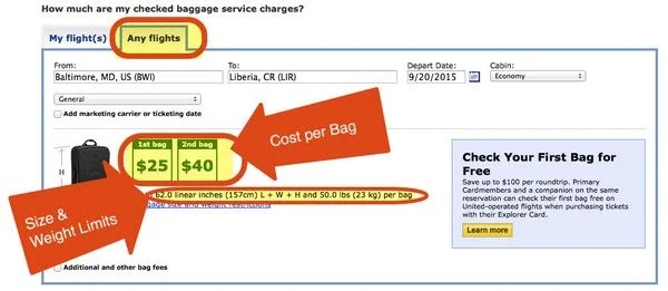 The Easy Way To Find Out How Much Checked Bags Will Cost On United Airlines Flights