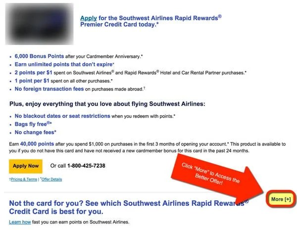 Better Offer For The Chase Southwest Plus Card 40,000 Southwest Points With Less Spending