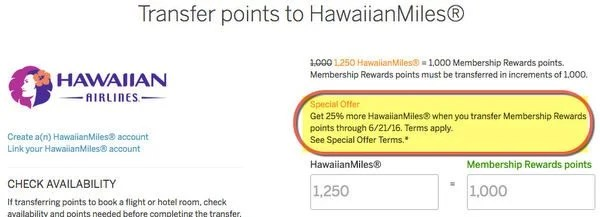 Limited Time 25 Transfer Bonus On AMEX Membership Rewards Points To Hawaiian Airlines Miles