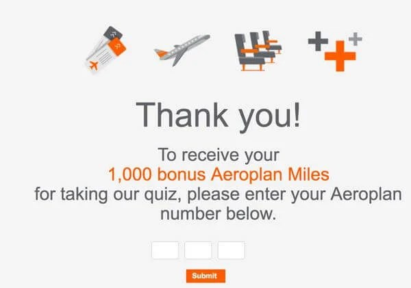 Earn 1,000 Air Canada Aeroplan Miles in Less Than 1 Minute! (Targeted)