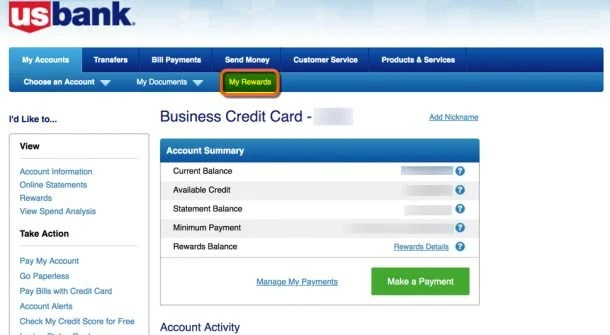 How to activate us bank real time rewards million mile secrets once youve logged into your account click the my rewards button reheart Gallery