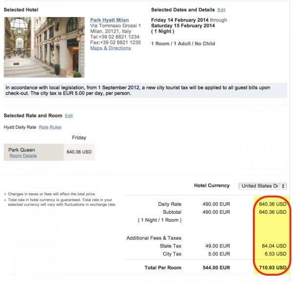 Room At Park Hyatt Milan With Tax