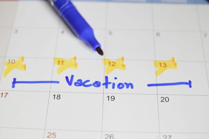 Calendar showing upcoming vacation days