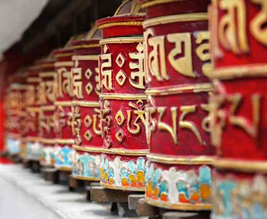 Religious prayer wheels in Bhutan