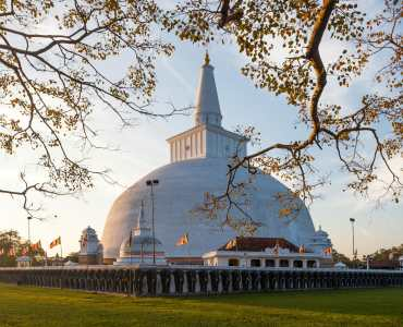 Mahatupa big Dagoba in Anuradhapura at sunset, Unesco, Sri Lanka