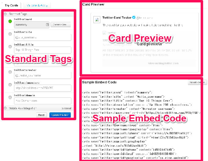 「Standard Tags」「Card Preview」「Sample Embed Code」