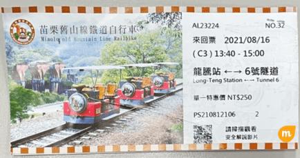鐵道自行車票