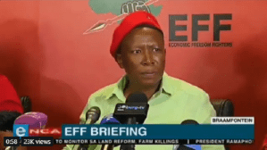 South African EFF leader Julius Malema responds to president Trump