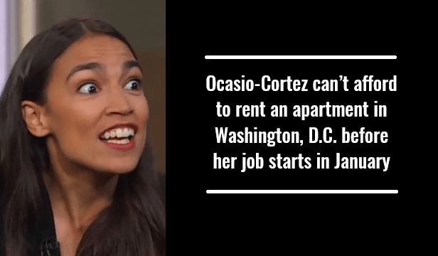 Ocasio-Cortez can't afford to rent an apartment in Washington, D.C. before her job starts in January