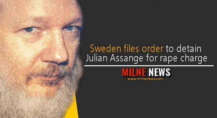 Sweden files order to detain Julian Assange for rape charge