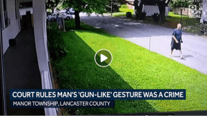 Pennsylvania court rules man's 'gunlike hand gesture' toward neighbor was a crime