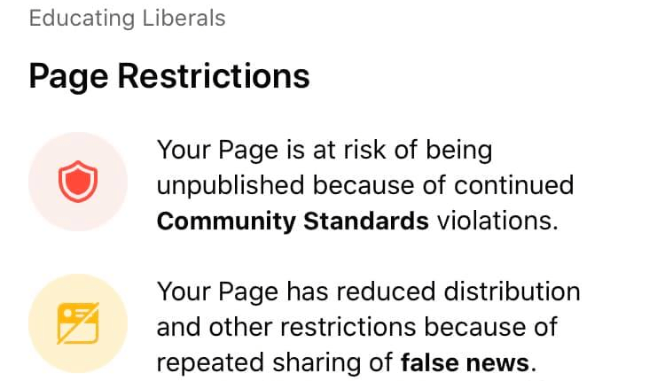 "Facebook threatens to shut down pro-Trump page Educating Liberals claiming it shares ""false news"""