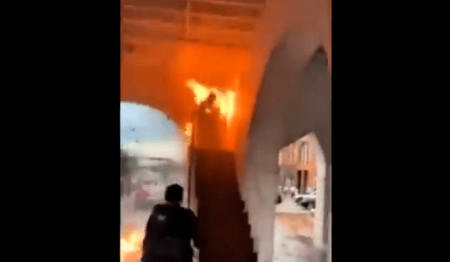 Rioter Lights Himself on Fire While Trying to Burn Down Historic Building