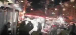 Antifa and BLM Throw Projectiles and Fireworks At Trump Supporters Eating Outside Near BLM Plaza