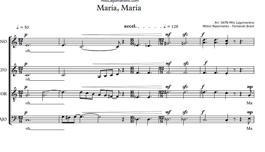 Partitura coral a 4 voces de Maria Maria por Milo Lagomarsino