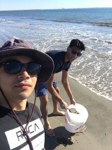 Collecting wet sand