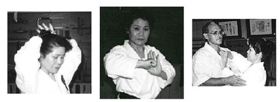 One of Sensei Isa's top female students, shows the traditional use of the hairpin. It was easily removed and used as a very effective weapon. The author gets the point of the demonstration (far right)