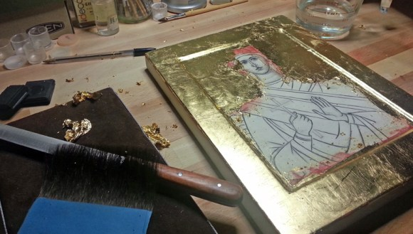 water gilding an icon