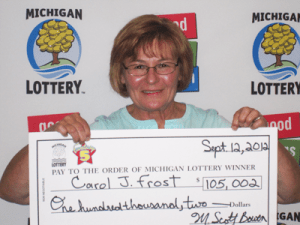 Carol J. Frost of Saginaw claims $105,000 from the 09/02/2012 Fantasy 5 drawing. (Photo Courtesy of the Michigan Lottery.)