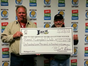 "The Lottery club of Reed and Campbell of Allegan claimed $107,667 from a May 24, 2013, win with  Michigan Lottery's  Club Keno ""The Jack"" game. (Photo courtesy of the Michigan Lottery.)"