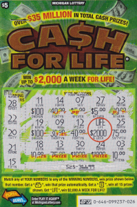 3.17.14 Actual Top Prize Winning $5 C4L ticket with win circled in RED