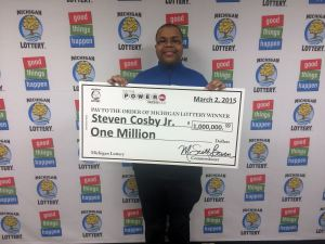 Steven Cosby, Jr. visited Lottery headquarters Monday to collect his $1 million Powerball prize.