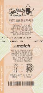 06.15.15 Fantasy 5 06.06.15 Draw $442,149 Anonymous Wayne County