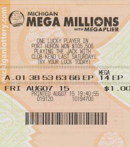 Sara Hupp's $1 million winning Mega Millions ticket.
