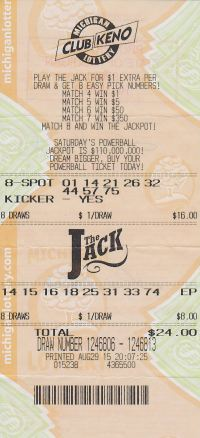 Lisa Knust's winning Club Keno The Jack ticket.