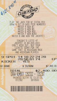 10.19.15 Club Keno Draw 1262379 $120,000 Anonymous Lapeer County