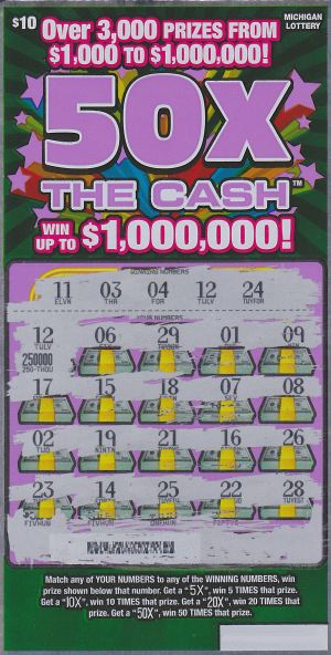Johnnie Green's winning 50X The Cash ticket.
