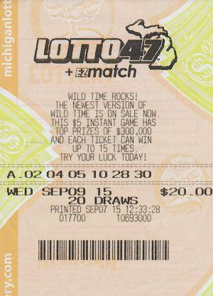 11.30.15 Lotto 47 10.24.15 Draw $1.1 Million Anonymous Presque Isle County