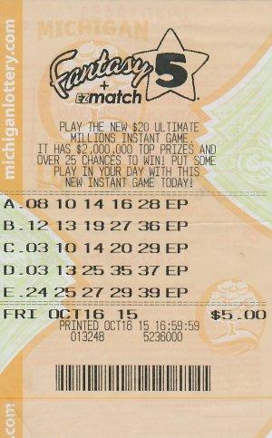 12.04.15 Fantasy 5 10.16.15 Draw $450,842 Anonymous Oakland County