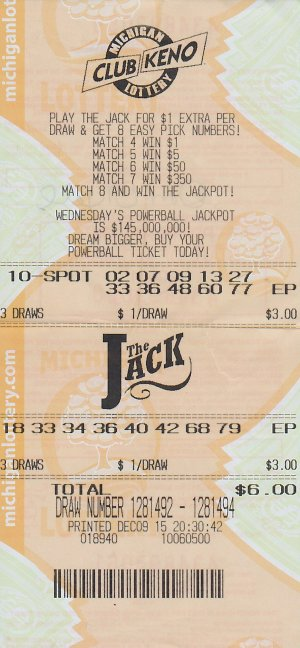 "Donald ""Duck"" O'Neil's winning Club Keno The Jack ticket."